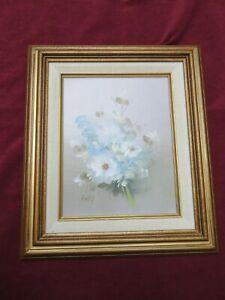 Vintage Oil on Board Floral Bouquet Light Blue with Gold color wood Frame