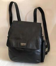 PERLINA NY  backpack Black Leather Many Pockets