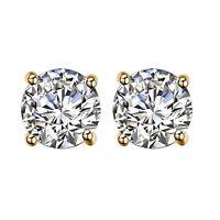 Round Cut Diamond 14K Yellow Gold Over Womens Stud Earrings