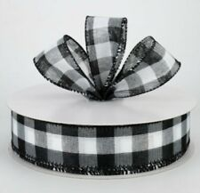 """🖤 5 Yards ~ 1.5"""" Wide Linen Black & White Buffalo Check Wired Ribbon"""