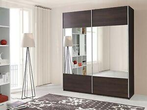 "New Bedroom Wardrobe ""VERONA 2"" Sliding Doors Mirror Hanging Rail Shelves 175 cm"