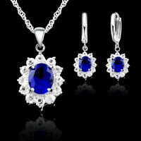 925 Sterling Silber Sets Blau Zirkonia Halskette Anhänger Ohrringe Damen Schmuck