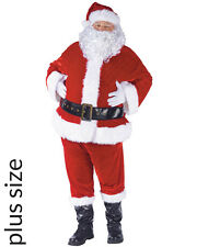Complete Velour Santa Suit And Beard Plus Size Mens Costume Size PLUS