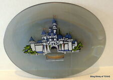 Disneyland Sleeping Beauty Castle Gray Glass Painted Souvenir Oval Plate