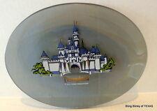 Disneyland Sleeping Beauty Castle Gray Glass Painted Souvenir Oval Plate