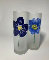 2 Vintage Designs by Dartington Tumbler Frosted Tall Flower Drinking Glasses