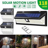 LITOM Update 118 LED Solar Power Wall Light Motion Sensor Security Garden Lamp