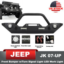 Front Bumper Built-in Winch Plate Turn Signal Lights for 07-17 Jeep Wrangler JK