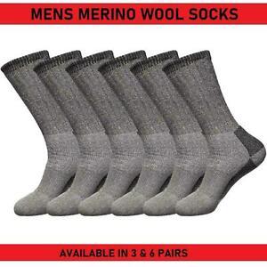Mens Merino Wool Socks Hiking Winter Warm Work 3 & 6 Pairs Boot Sock Size UK6-11