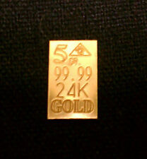 ACB Affordable 5GRAIN 24K SOLID GOLD BULLION MINTED BAR 99.99 FINE +