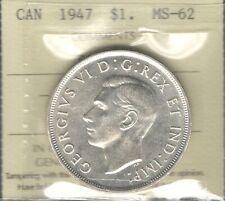 1947 BLUNT 7 Silver Dollar ICCS MS-62 RARE Beautiful KEY George VI Canada $1.00
