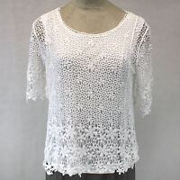 CJ Banks Plus Size Crochet Lace Cotton Overlay Lined Blouse 1X, 16W/18W
