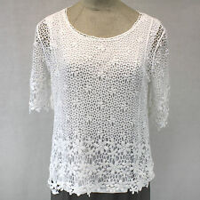 NEW NWT CJ Banks Plus Size Crochet Lace Cotton Overlay Lined Blouse 2X, 20W, 22W