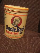 "VINTAGE KITCHEN FOOD 1985 7 1/2"" HIGH UNCLE BEN'S CONVERTED RICE TIN CAN *EMPTY*"