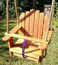 Wood Tree Swing- Sun Burst Cherry Kids Seat with 11 feet of rope per side