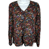Mossimo Button Up Blouse Floral Black Long Sleeve V-Neck Flowy Top Size M