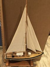 """New listing Large Vintage Wooden Pond Sail Boat 20� X 30"""" Seaworthy With Display Stand"""