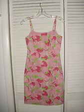 LILLY PULITZER SPAGHETTI STRAP PINK/GREEN PRINT LINED SUN DRESS SZ 0 EUC COTTON/
