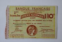 FRANCE LOTERY TICKET 1937 B20 BK153