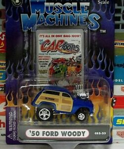 MUSCLE MACHINES 1:64 CARTOONS BLUE '50 FORD WOODY .....C02-23.....#71171