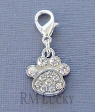 Dangle Dog Paw print Clip On Charm with Lobster Clasp Fit for Link Chain C204