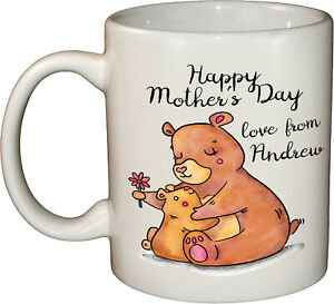 Mother's Day Bear & Cub Personalised coffee mug / tea cup   Novelty Animal gift