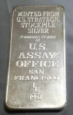 VINTAGE 10 OZ 1981 CC San Francisco U S ASSAY OFFICE STOCKPILE SILVER BAR .999