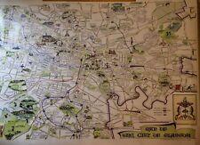 V. Large A0 Size Vintage Glasgow City Municipal Map circa 1957 - Pre M8 Motorway