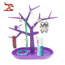 Purple Plastic Necklace Holder Tree Stand Accessories Organizer Jewelry Display