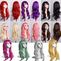 WOMEN GIRL LONG CURLY WAVY HAIR ANIME COSPLAY PARTY NIGHT CLUB FULL WIG FADDISH