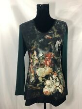 Gerry Weber Womens Size 8 Green Multi-Color Floral Print Long Sleeve V-Neck Top
