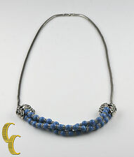 Giles & Brother Garland Necklace Royal Turquoise & Antique Silver MSRP $330