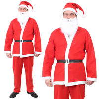 ADULTS SANTA SUIT FATHER CHRISTMAS COSTUME SANTACON MENS OUTFIT XMAS FANCY DRESS