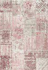 Vintage Faded Patchwork Distressed Soft PINK Modern Contemporary Flatweave Rugs