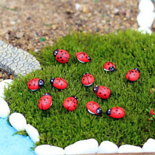 50x Wooden Mini Ladybird Red Beetle Ladybug Fairy Doll House Garden Ornament USA