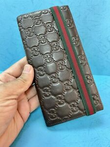 Authentic Mint  GUCCI  Bifold CARDS Wallet Purse BROWN leather  unisex R6