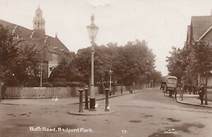 London RP Postcard. Bath Road. Bedford Park. Ealing. Cart!  1919