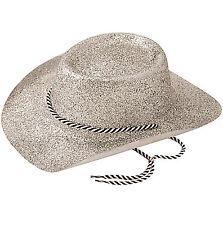 Ladies Silver Glitter Cowboy Hat Wild West Cowgirl Hen Nght Fancy Dress Accessor