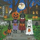 4x4 PRINT OF PAINING RYTA HALLOWEEN BLACK CAT WITCH TRICK OR TREAT VINTAGE STYLE