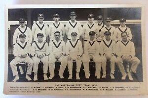Postcard Australian Test Team 1930 Oval London