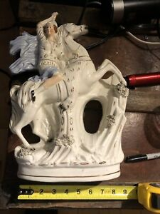 LARGE LADY  ON HORSE FIGURINE, ANTIQUE STAFFORDSHIRE Porcelain China M