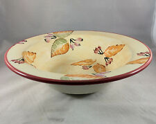 HOME Ceramic Large Round Yellow Serving Bowl hand painted Fall Leaves Italy 12""