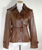 Perry Ellis Women's Soft Brown Leather Button Up Belted Moto Jacket /Size Small