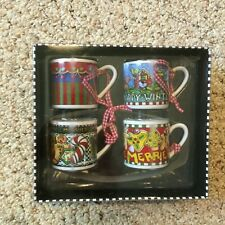New Mary Engelbreit Mini Hanging Mug Ornaments More The Merrier Collection - Nib