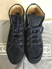 Chanel Blue Suede Lace Up Ankle Boots SZ 38,5