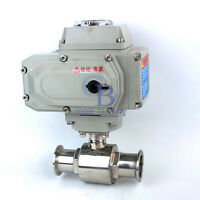 "1.5"" Stainless Steel 304 Tri Clamp Motorized Ball Valve AC220V"