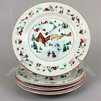 Vintage FARBERWARE White Christmas Salad Plate Lot of 4 Katherine Babanovsky