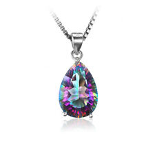 925 Silver Necklace Rainbow Fire Mystic Topaz Gemstone Drop Women's Pendant