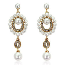 Vintage Style White Pearls Cluster Round Gold Yellow Drop Stud Earrings E1314