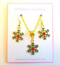 Green Red Snowflake Festive Christmas Necklace and Earring Set on gift card